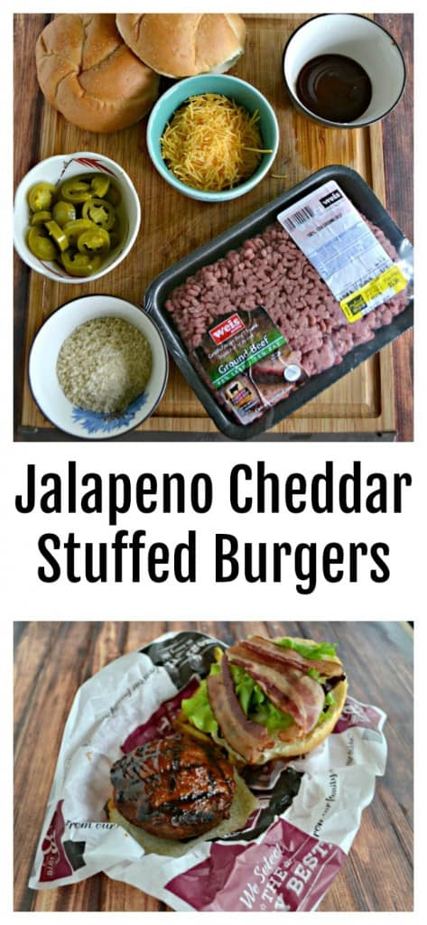 Everything you need to make delicious Jalapeno Cheddar Stuffed Burgers