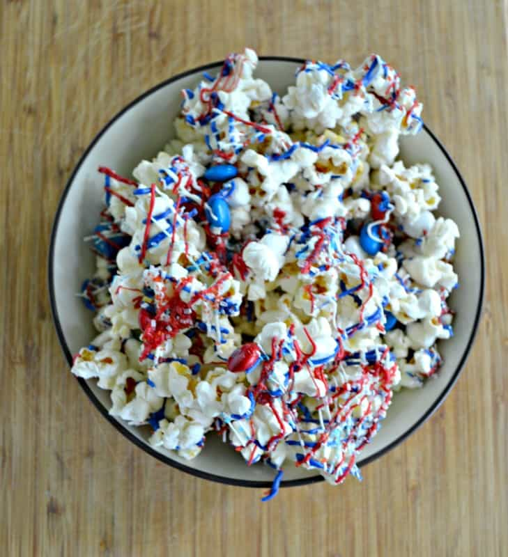 You'll love this fun and easy Red, White, and Blue Popcorn for a snack!