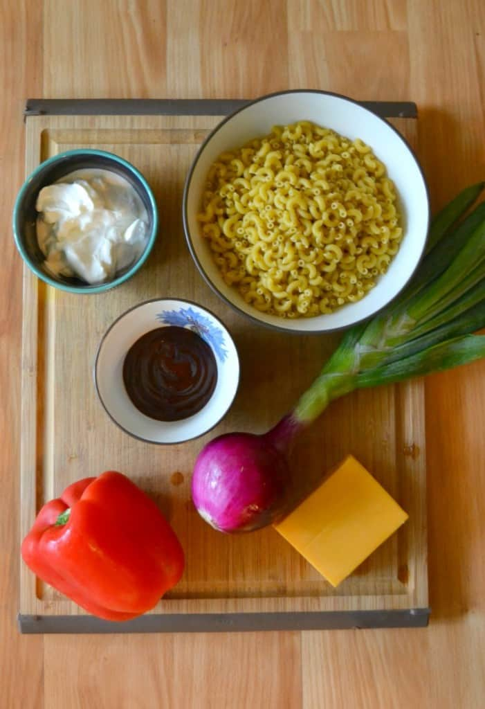 Everything you need to make BBQ Ranch Pasta Salad!