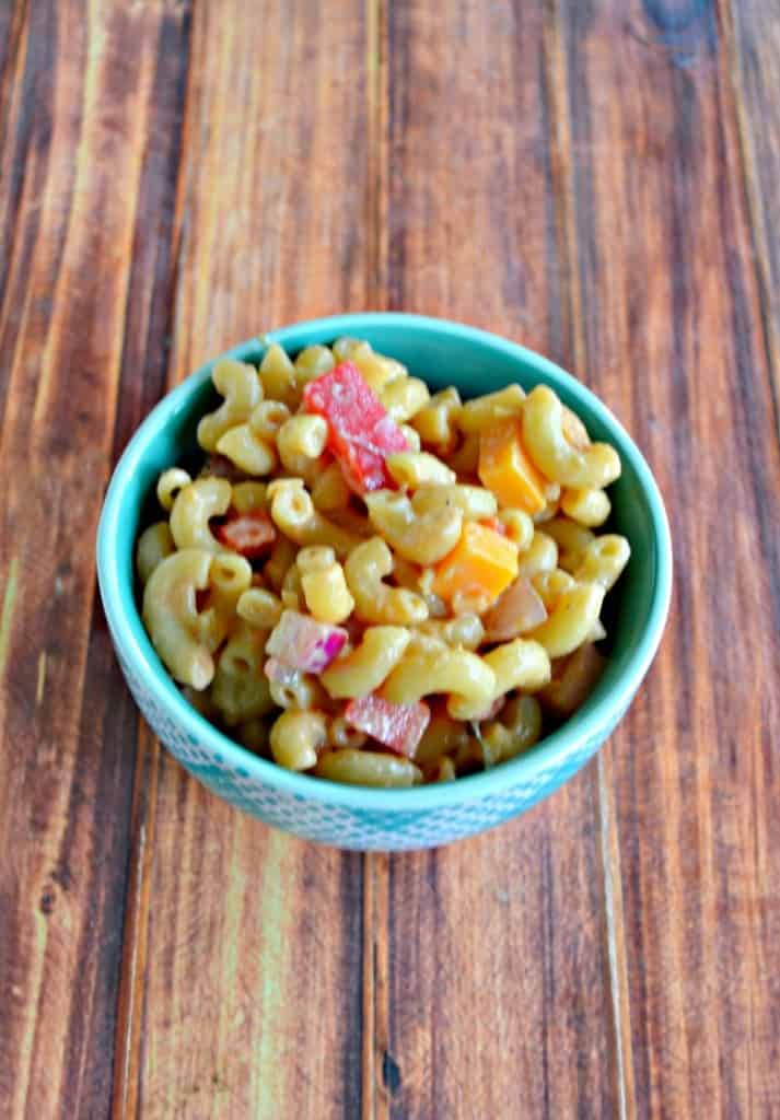 Grab a fork and dig into a dish of tasty BBQ Ranch Pasta Salad!