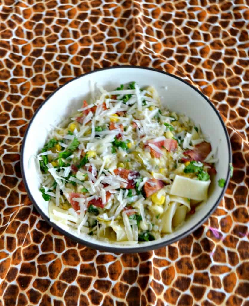 Get to the farmer's market and grab some sweet corn to make this Corn Pasta with Bacon and Pecorino Romano!