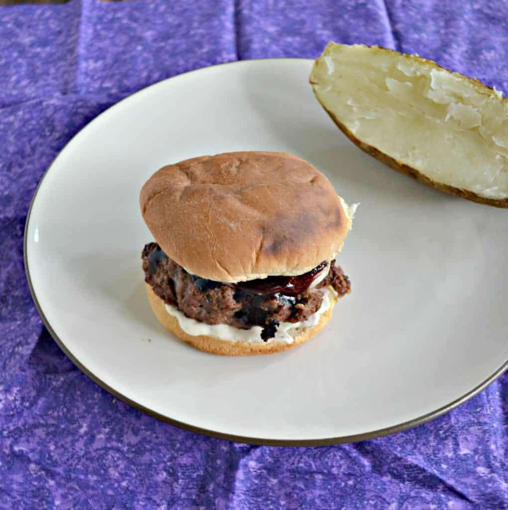 Check out these amazing Burgers with Blueberry BBQ Sauce, Brie, and Lemon Shallot Aioli