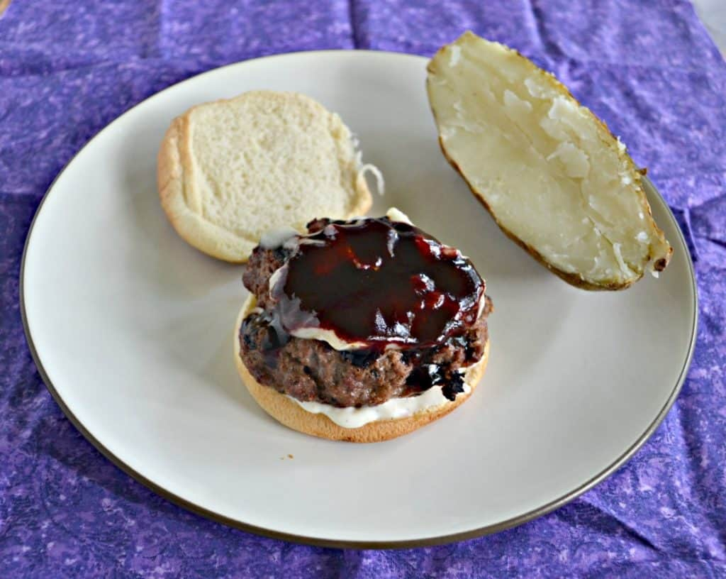 Fire up the grill and make these Burgers with Blueberry BBQ Sauce, Brie, and Lemon Shallot Aioli