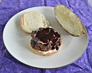 Burgers with Blueberry BBQ Sauce, Brie, and Lemon Shallot Aioli