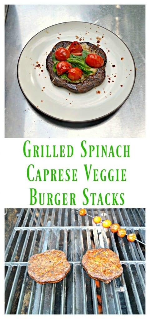 Grill up these dleicious Grilled Spinach Caprese Veggie Burger Stacks!
