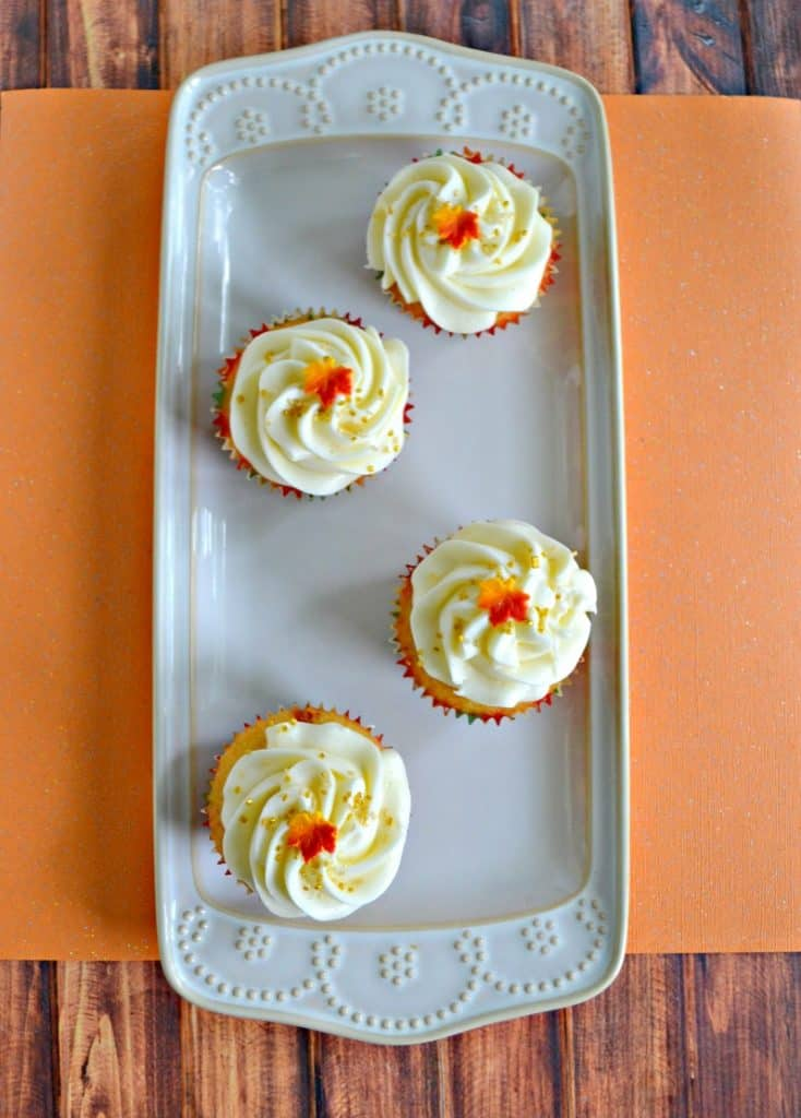 Bite into these awesome Caramel Cupcakes with Vanilla Frosting