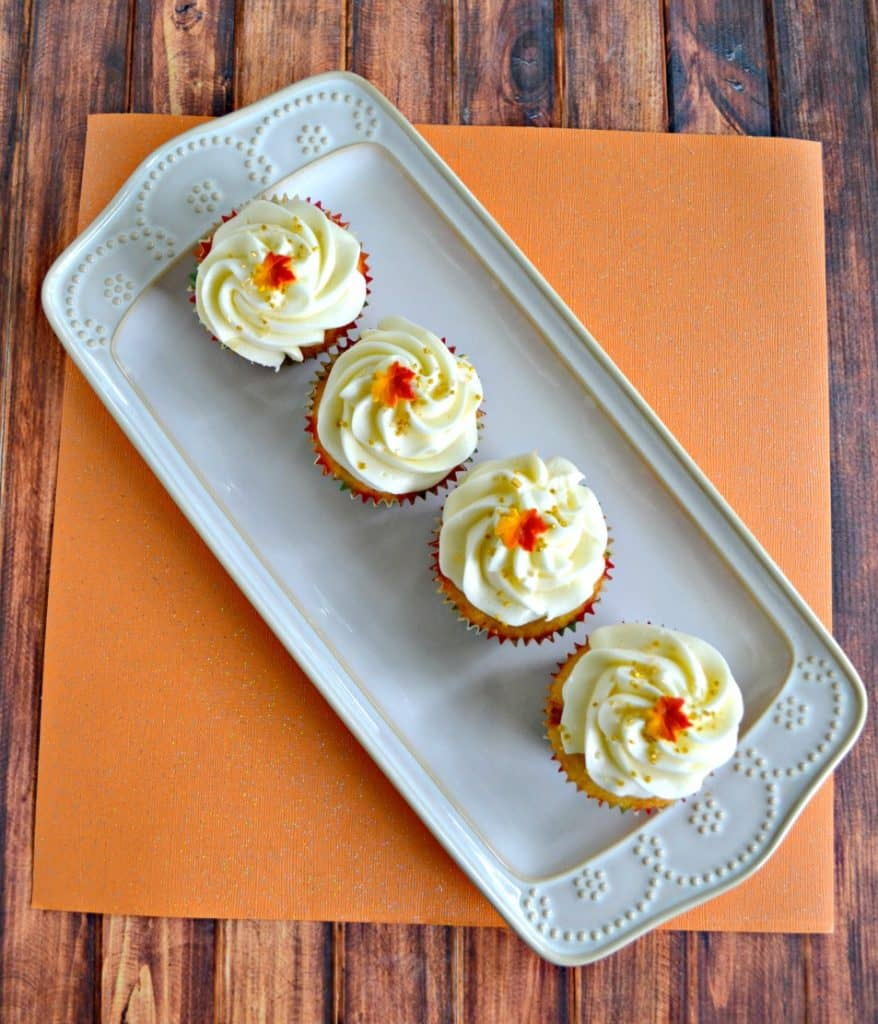 Perfect any time of year, these Caramel Vanilla Cupcakes are delicious!