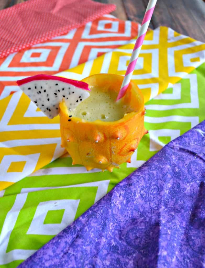Freaky Fruit Cocktail served in a Horned Melon Glass would be fun for Halloween!