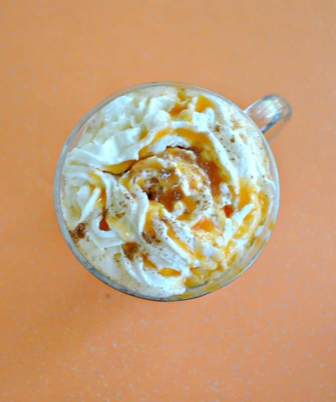 Creamy caraamel drizzled over top of a Pumpkin Latte