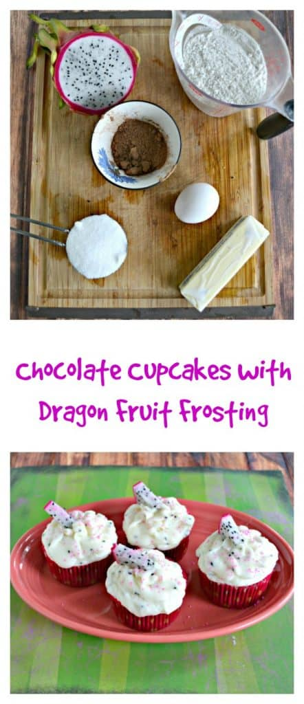 Everything you need to make Chocolate Cupcakes with Dragon Fruit Frosting