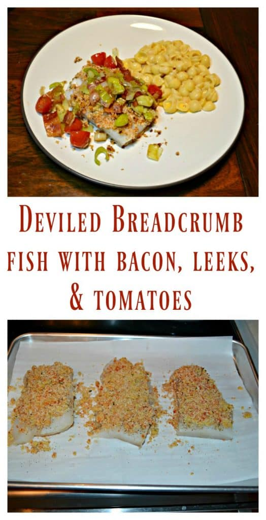 It's easy to make this Deviled Breadcrumb Fish with Bacon, Leeks, and Tomatoes