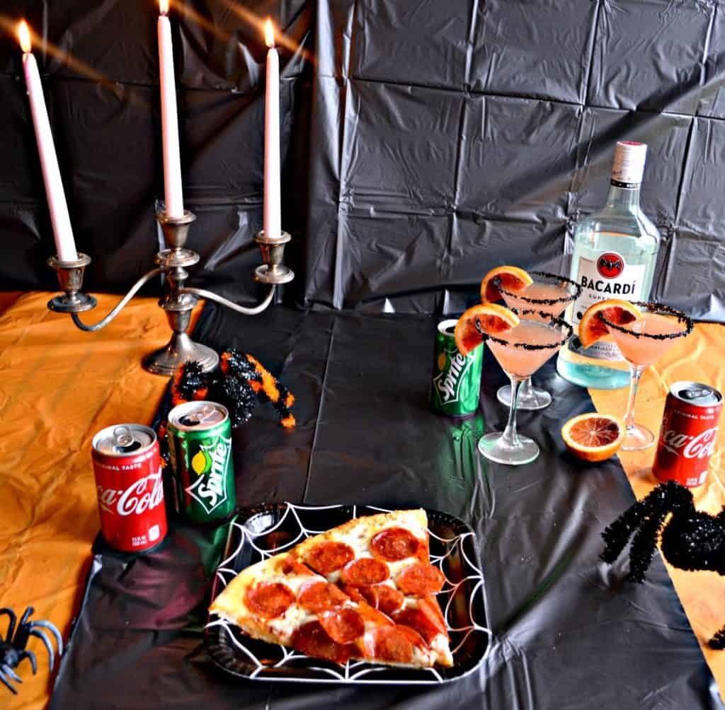 Pizza, Coca-Cola, and Blood Orange Rum Punch makes a fabulous adult Halloween party!