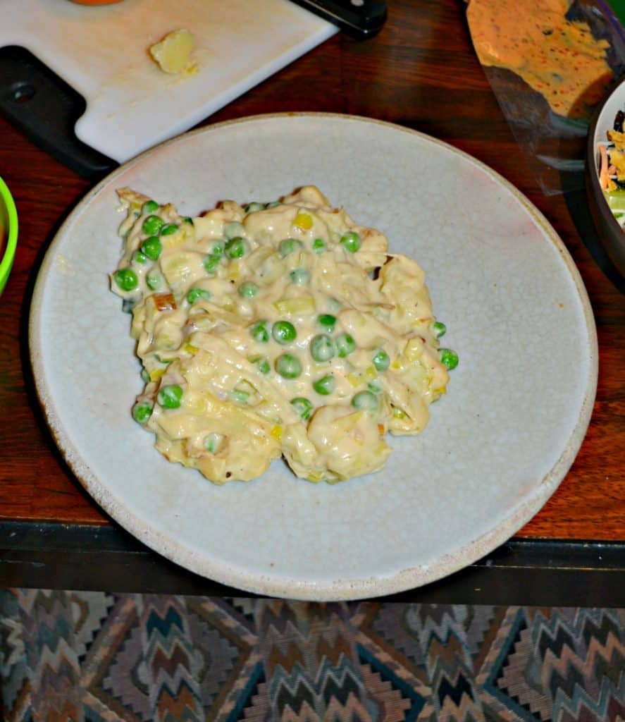Grab a fork and dig into this Gnocchi Mac and Cheese with Peas
