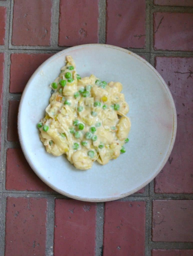Worried about your kids eating veggies? They will gobble them up in this Gnocchi Mac and Cheese with Peas