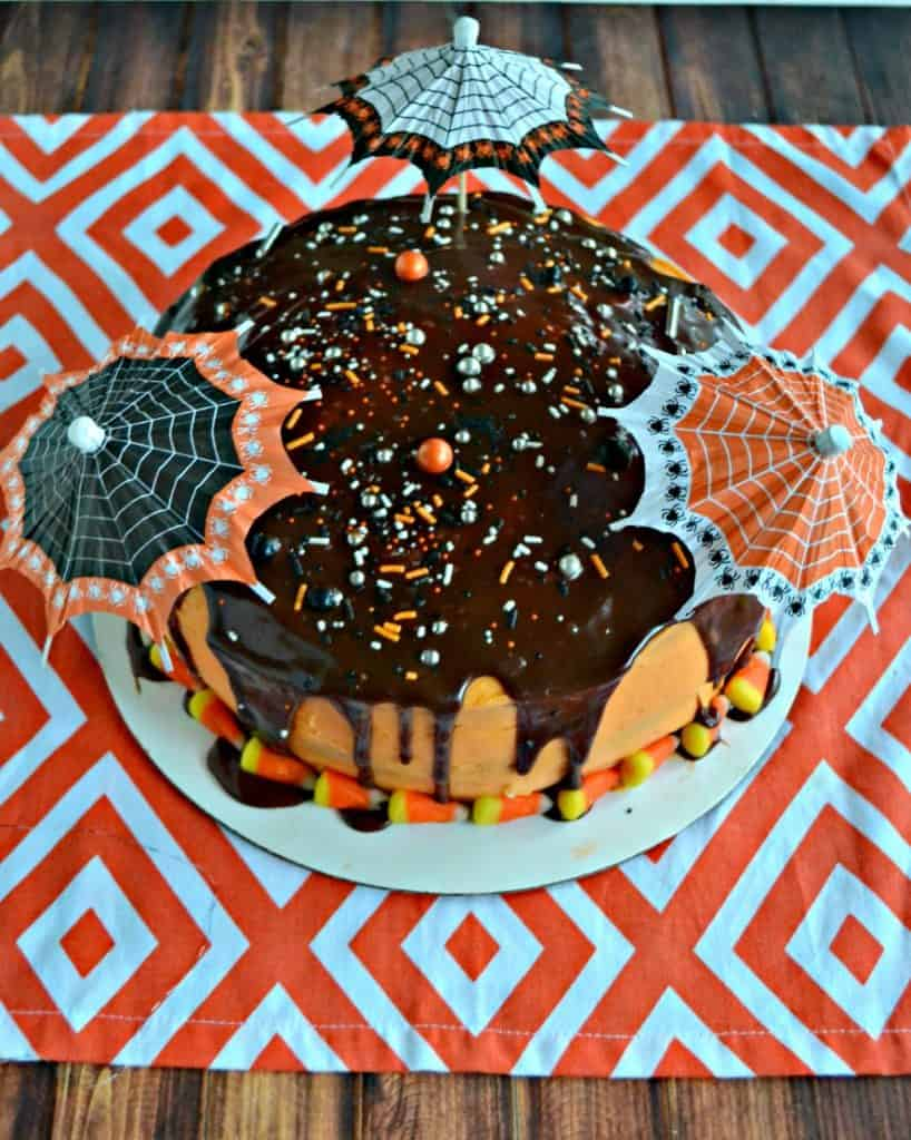 Amazing Halloween Layer Cake with Chocolate and Orange Layers and Chocolate Ganache on top