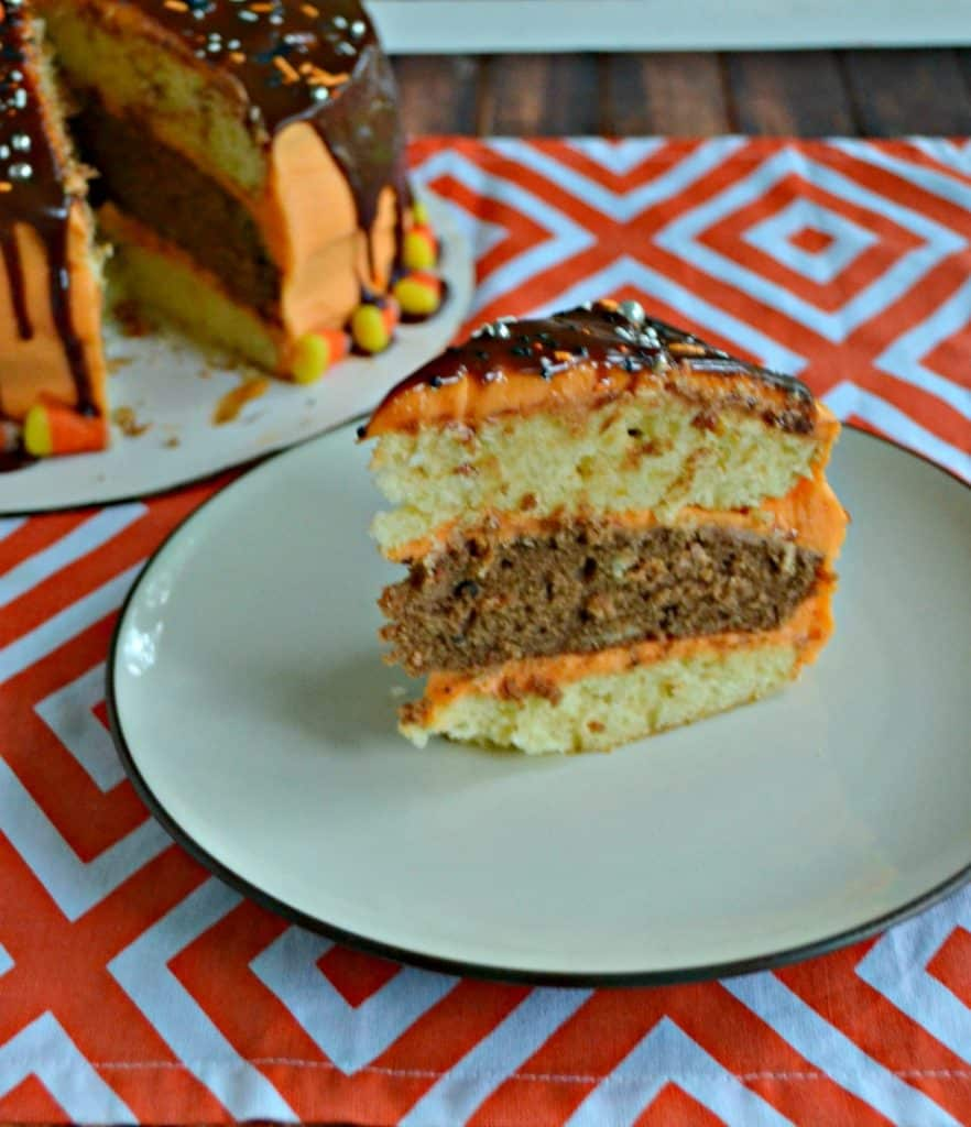 I can't get enough of this Halloween Layer Cake with orange and chocolate layers