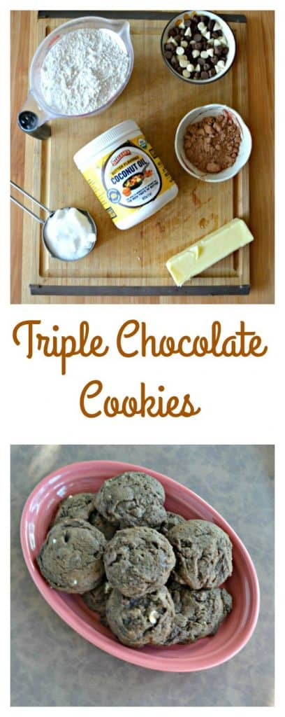 Triple Chocolate Cookies with dark, milk, and white chocolate chips!