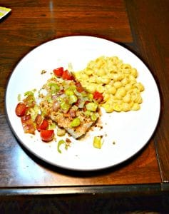 Deviled Breadcrumb Fish with Bacon, Leeks, & Tomatoes