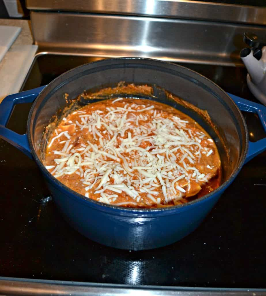 One Pot Lasagna goes from stove top and oven all in one pot!