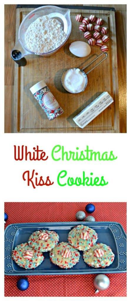 Everything you need to make White Christmas Kiss Cookies