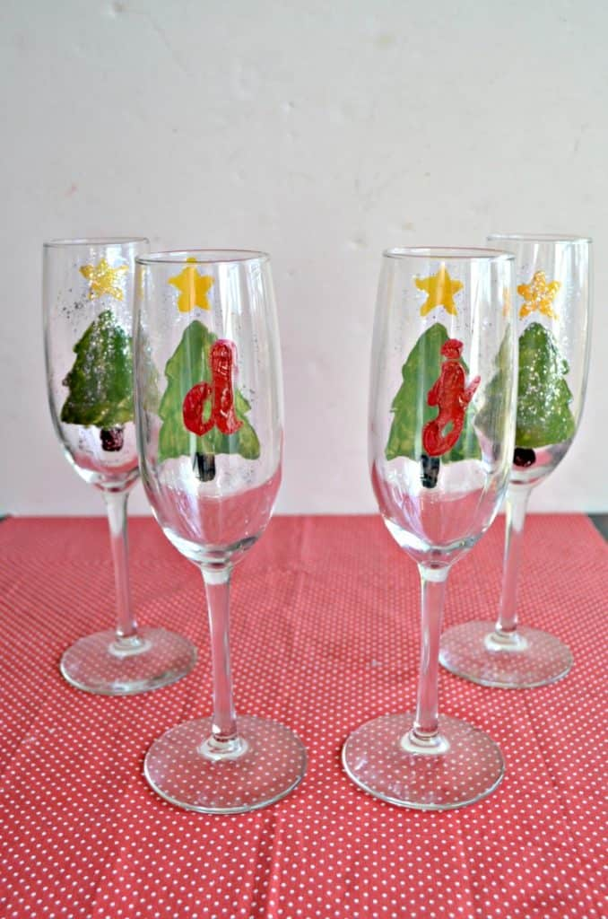 Monogrammed Holiday Champagne Glasses are a fun gift to make and give!