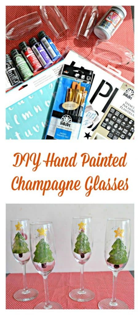 DIY Hand Painted Champagned Glasses