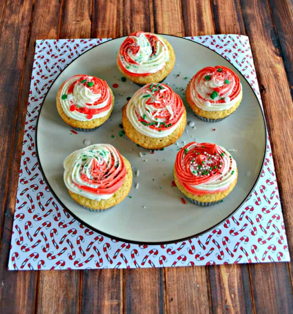 Delicious Vanilla Cupcakes with Peppermint Swirl Frosting