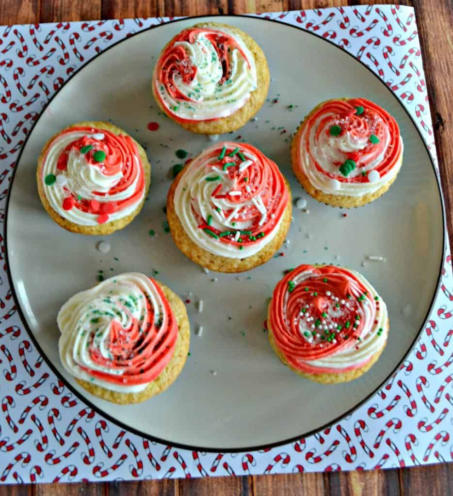 Looking for a holiday dessert?  Try my Vanilla Cupcakes with Peppermint Swirl Frosting!