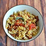 Gluten Free Pasta with Chorizo and Sun Dried Tomatoes in a Lemon Sage Butter Sauce