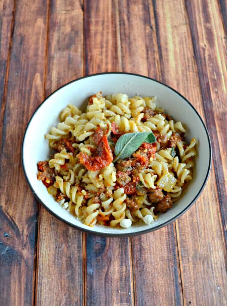 Looking for a great gluten free pasta dish? Check out my Pasta with Chorizo and Sun Dried Tomatoes in a Lemon Sage Butter Sauce!