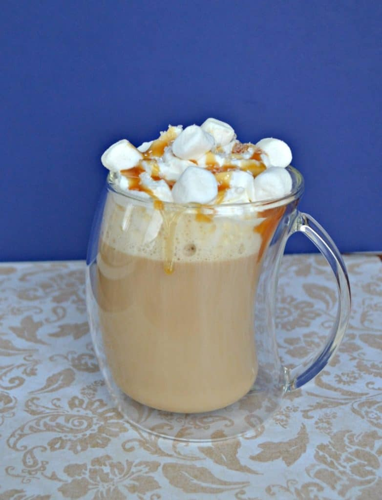 Caramel Marshmallow Latte topped with whipped cream, marshmallows, and caramel!