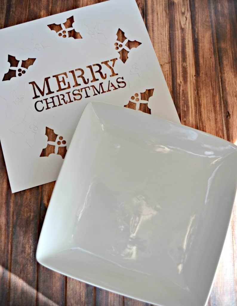Choose a fun stencil and make this DIY Christmas Cookie Platter