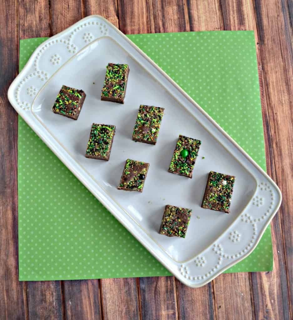 Grab some green and gold sprinkles and make this Peppermint Brownie Batter Fudge