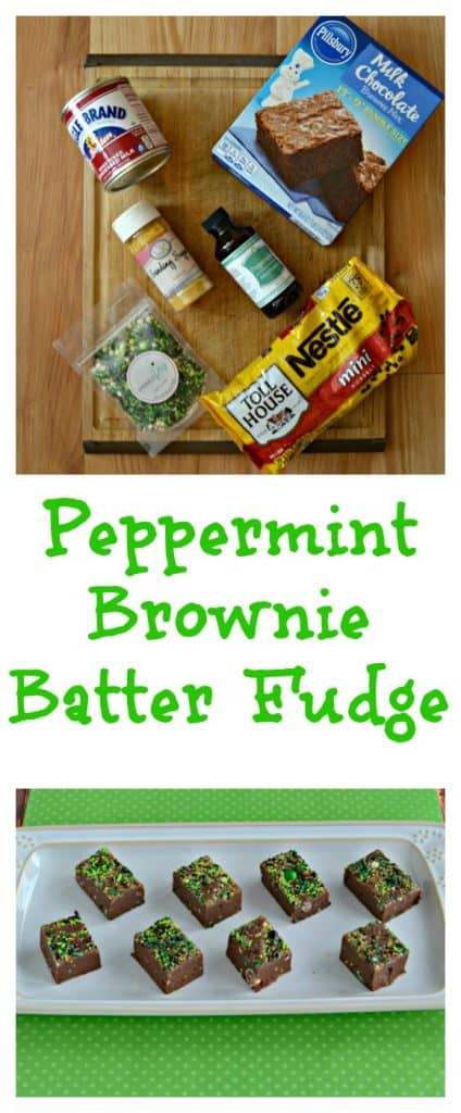 It's so easy and fun to make Peppermint Bownie Batter Fudge for St. Patrick's Day!