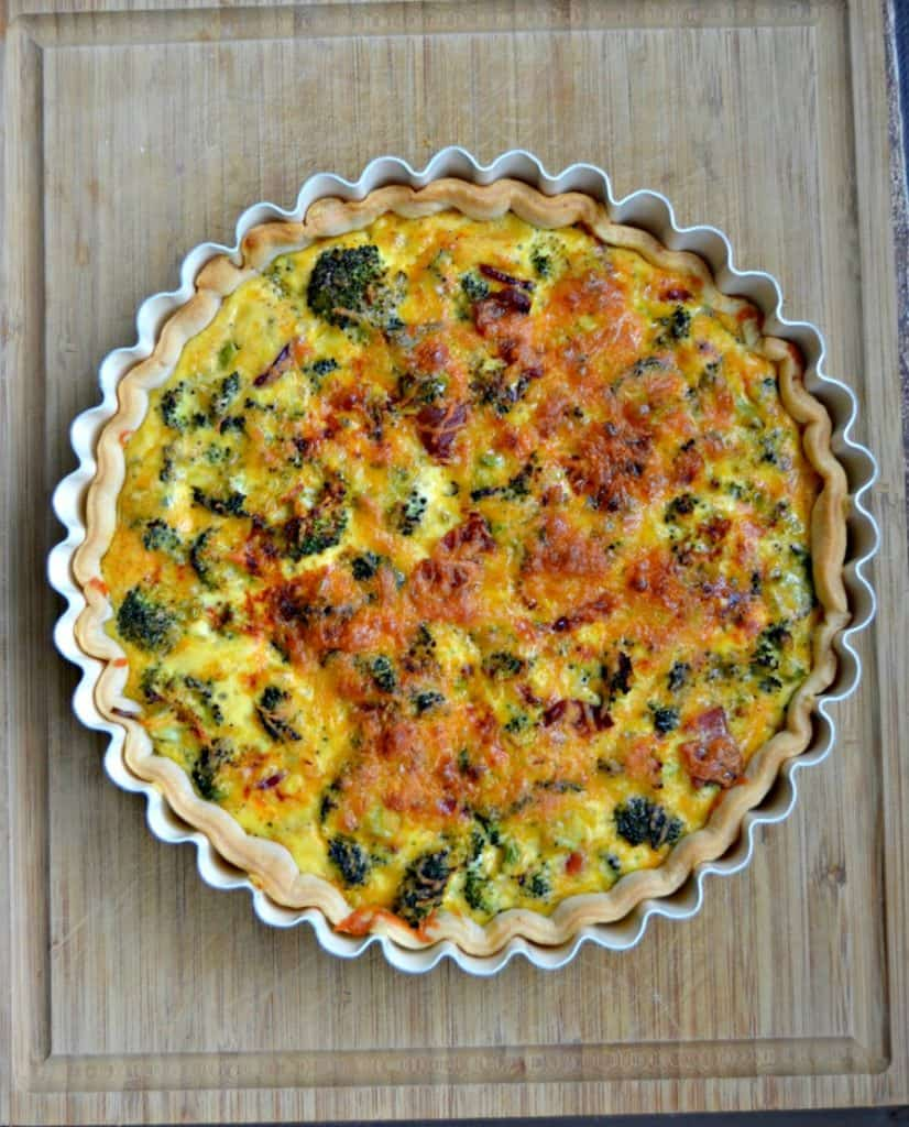 Broccoli and Cheddar Quiche is a simple but delicious meal.
