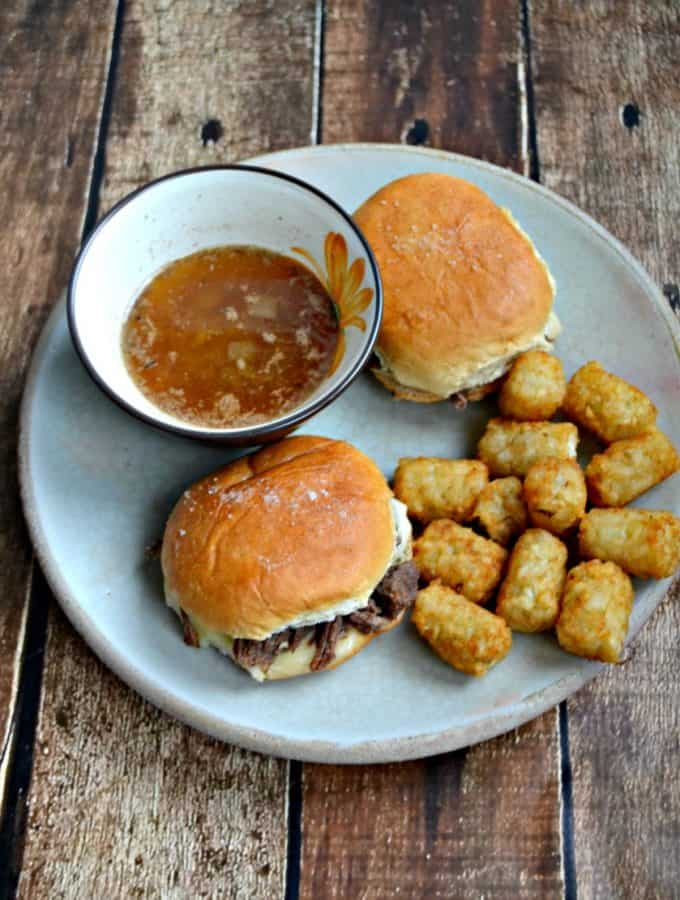 Planning a Game Day party? Enjoy these French Dip Sliders made in the slow cooker or Instant Pot