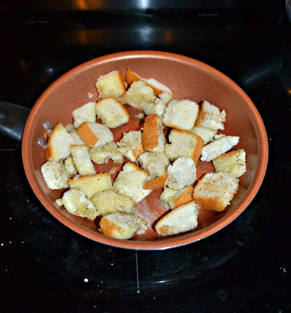 Homemade croutons for French Onion Soup