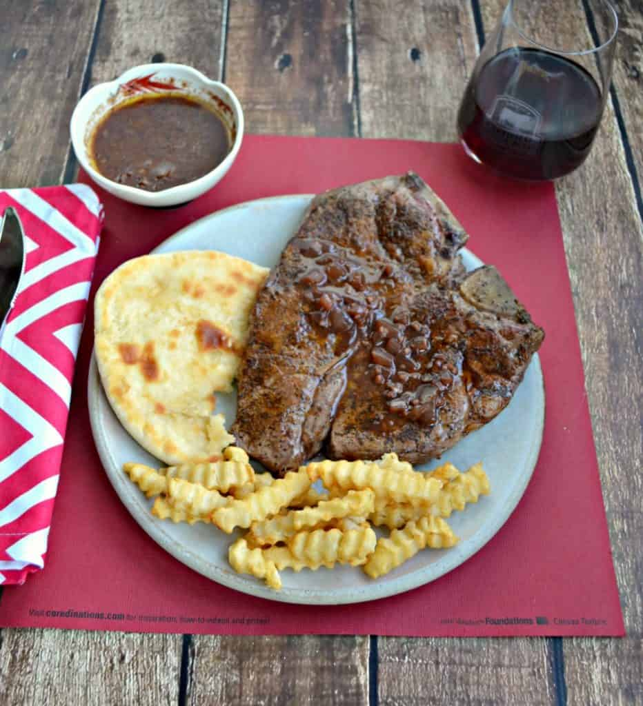 Coffee Rubbed Pan Seared Porterhouse Steaks with Red Wine Chocolate Sauce