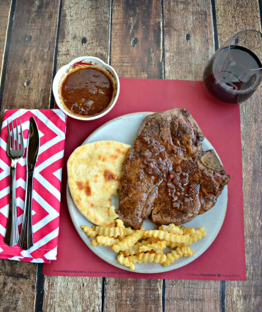 Looking for a romantic meal to make for your sweetheart? This Coffee Rubbed Porterhouse with Red Wine Chocolate Sauce will hit the spot!