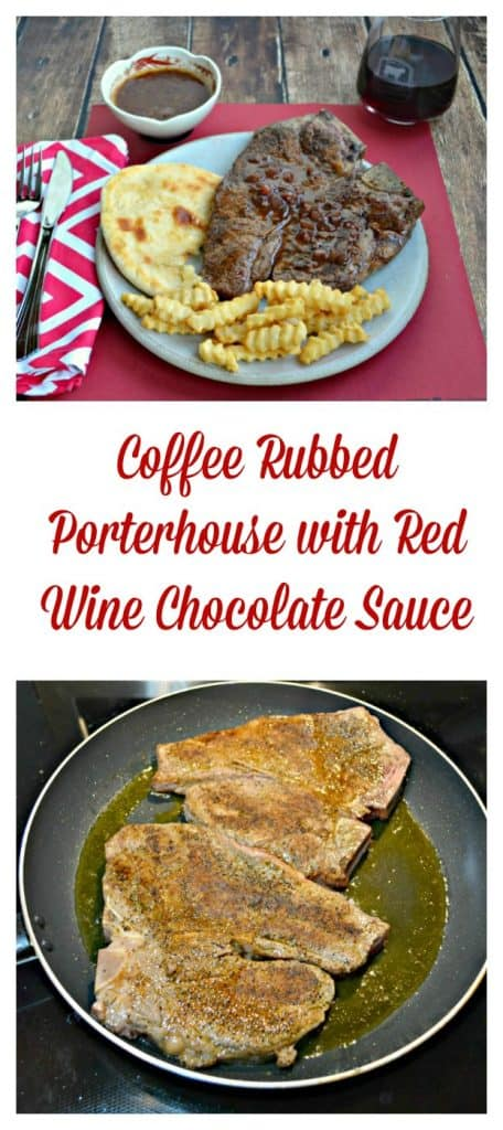 Looking for the ultimate Valentine's Day dinner? This Coffee Rubbed Porterhouse with Red Wine Chocolate Sauce is an amazing choice!