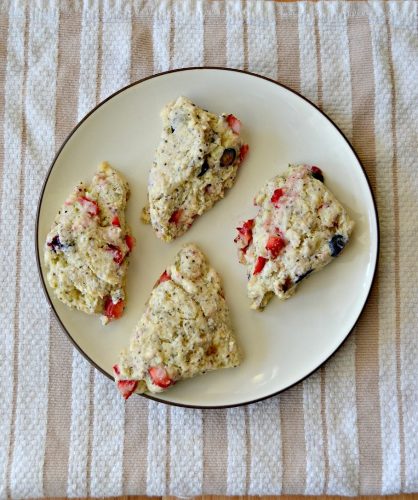 Berry Scones with Chia Seeds and a Lemon Glaze are perfect for breakfast or a snack!