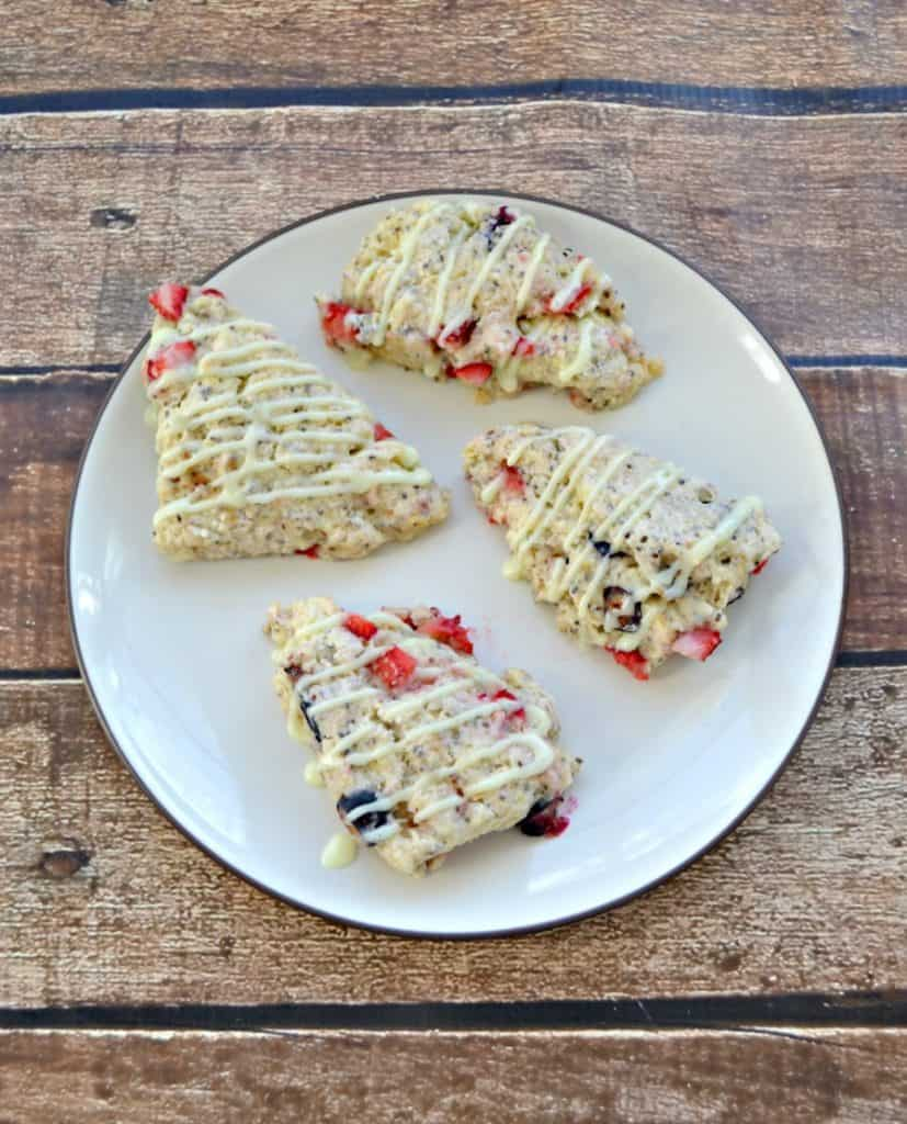 Grab a cup of coffee or tea and enjoy one of these delightful Berry Chia Scones with Lemon Glaze