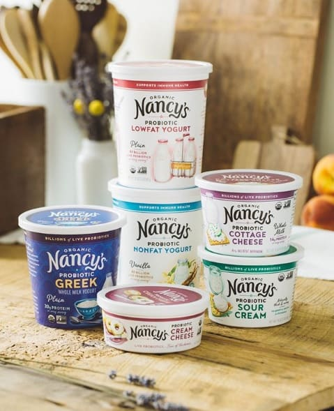 A stack of Nancy's products in a kitchen
