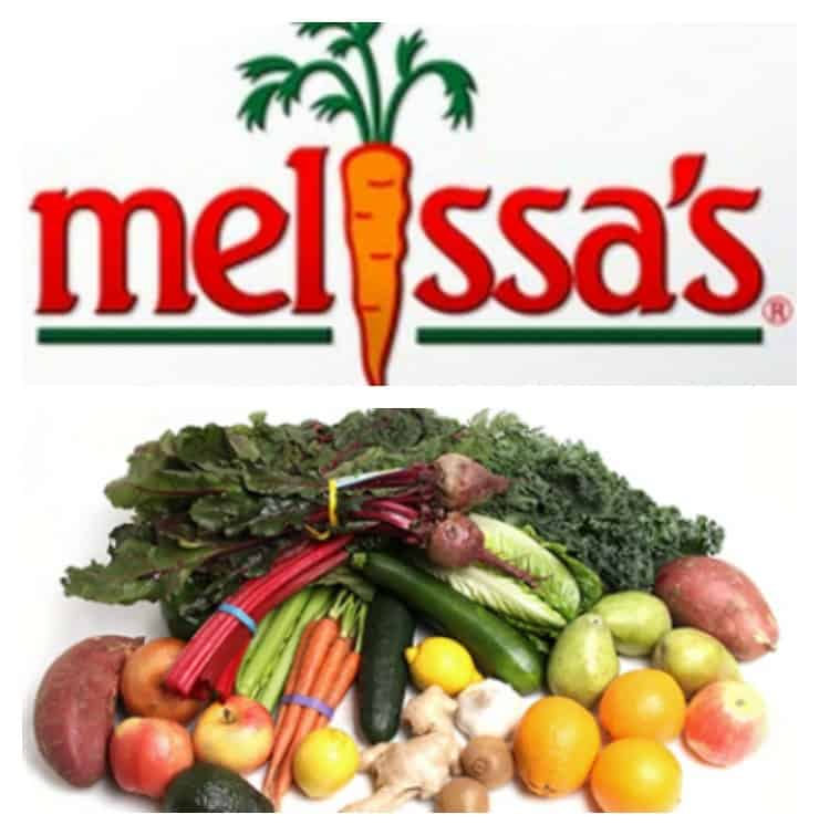 Melissa's Produce logo, along with a stack of veggies and fruits