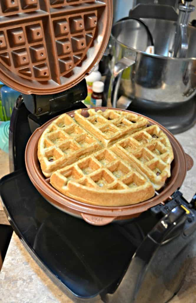 Vanilla Bean Waffles are made with the Hamilton Beach waffle iron.