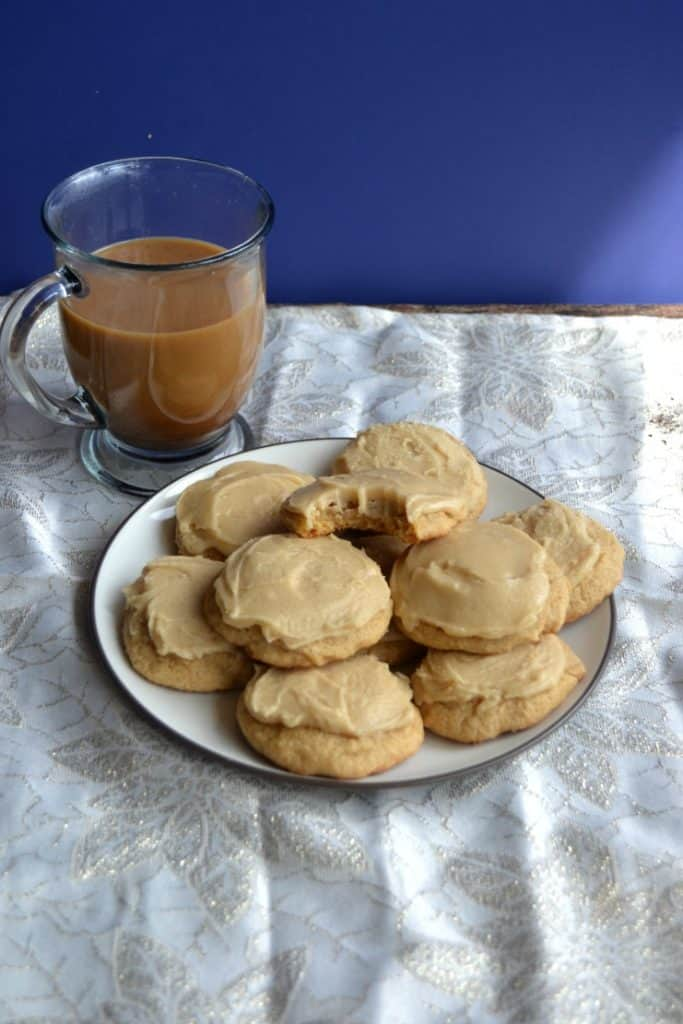 Sweet Frosted Brown Sugar Cookies pair perfectly with coffee
