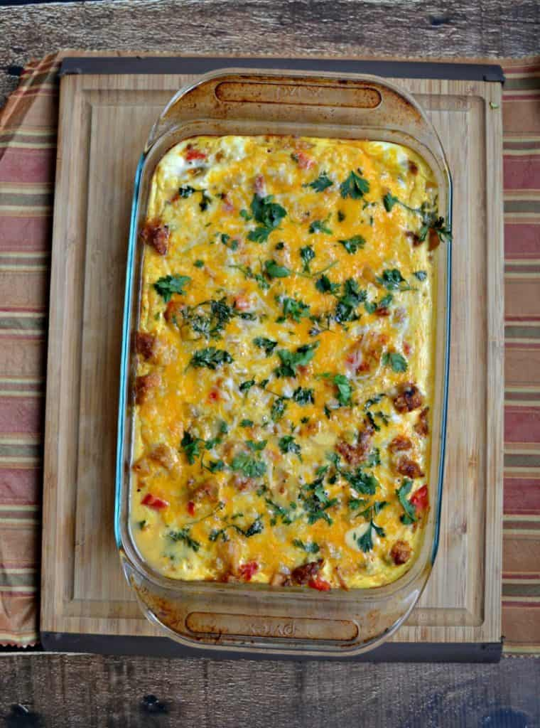 Grab a loaf of homemade bread and serve it along sie this Sausage, Egg, and Cheese Breakfast Casserole