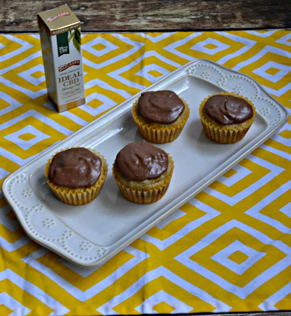 Banana Bread Muffins with Chocolate CBD Glaze