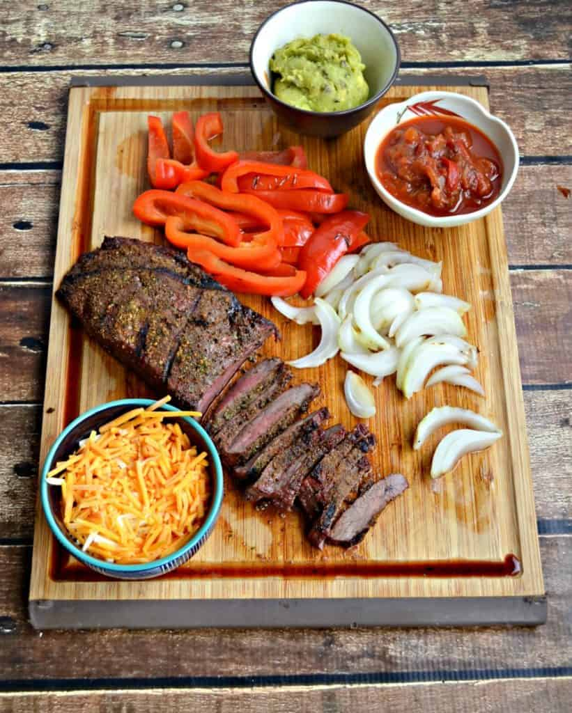 Grilled steak, peppers, and onions make for delicious Grilled Steak Fajitas!