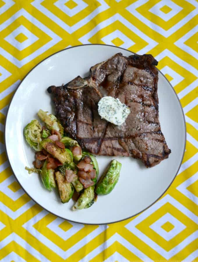 Grilled Porterhouse Steaks with Garlic Herb Compound Butter
